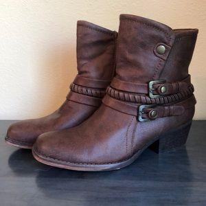 Brown embellished short boots